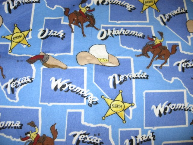 Image 0 of Southwest states map Cowboys Sherrif badge Flannel baby blanket