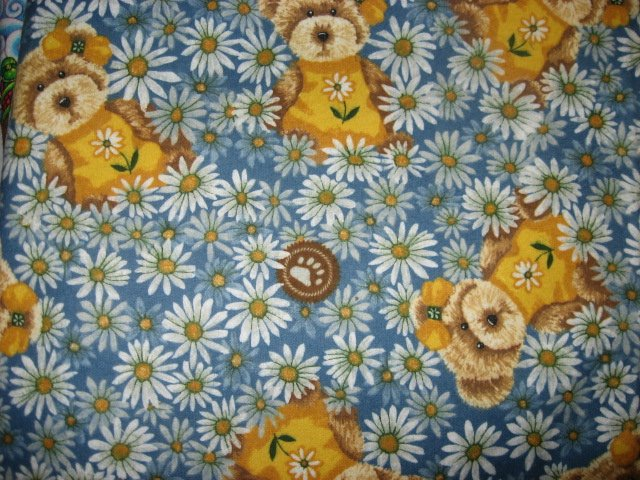 Boyds Teddy Bears and Daisies Flannel baby blanket