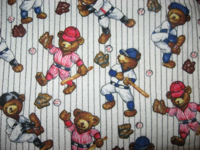teddy bears playing baseball Flannel baby blanket