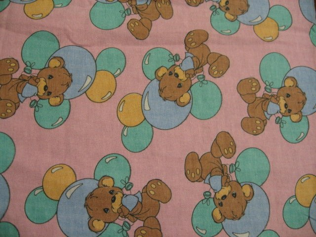 Precious Moments Teddy Bears and Balloons Flannel baby blanket Rare