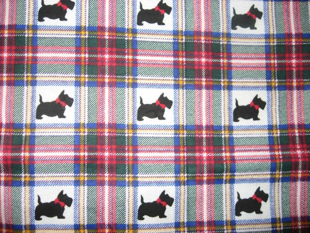 Image 0 of Scottie Dogs with red bows Plaid Flannel baby blanket