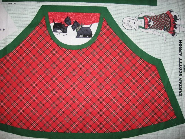 Image 2 of Scottish terrier Scotty aprons One cotton fabric apron panel with flounce U sew