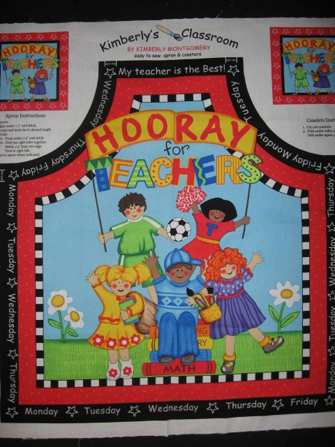 Art apron with children and books to sew for a teacher gift