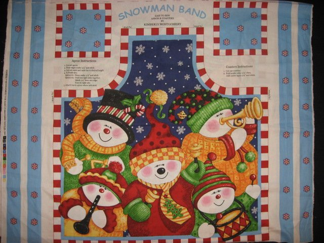 Snowmen musical carols band teacher gift cotton fabric apron panel to sew