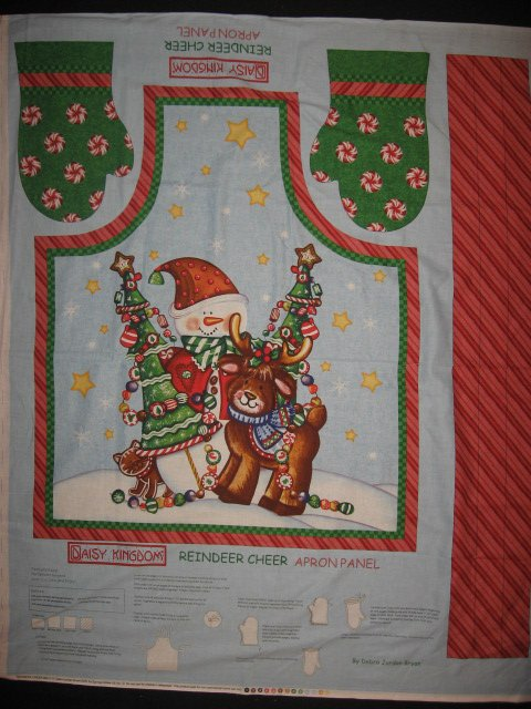 Daisy Kingdom Christmas Reindeer quality cotton fabric apron panel to sew