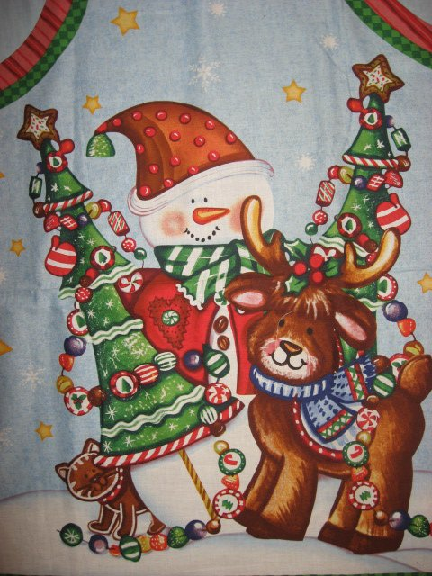 Image 1 of Daisy Kingdom Christmas Reindeer quality cotton fabric apron panel to sew