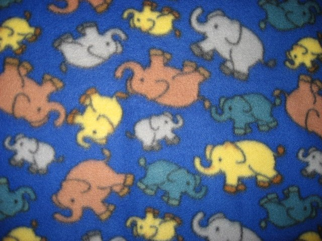 Elephants handmade blue fleece  baby blanket
