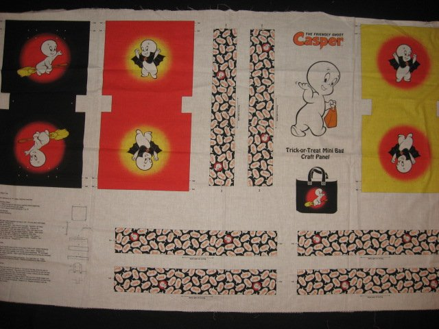 Licensed Casper The Ghost Halloween cotton fabric trick or treet bag to sew