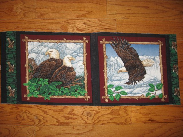 Eagle eagles birds in nest and flying 2 Fabric Pillow Panels set