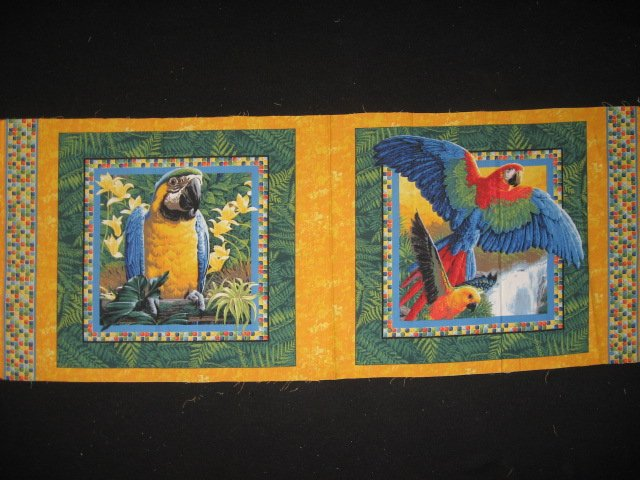Tropical Parrots in the jungle pictures set of two Fabric Pillow Panels