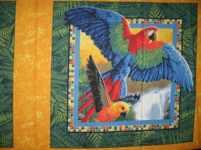 Image 1 of Tropical Parrots  jungle set of two Fabric Pillow Panels