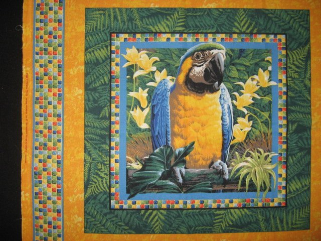 Image 2 of Tropical Parrots  jungle set of two Fabric Pillow Panels