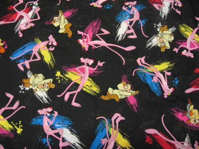 The pink panther cotton quilt fabric to sew by metro for Solar system fleece fabric
