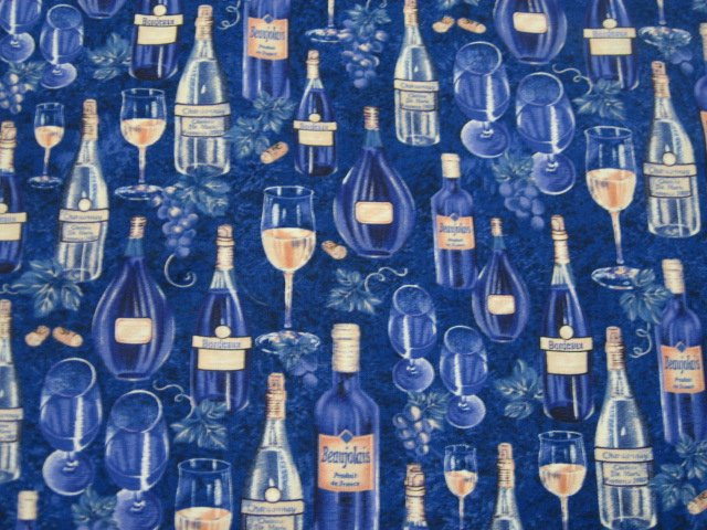 Image 0 of grape and  Wine bottles on beautiful purple Cotton Quilt Fabric to sew by Avlyn