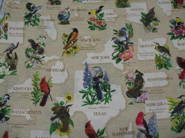 State birds Robin cardinal teacher panel beige Cotton Fabric to sew