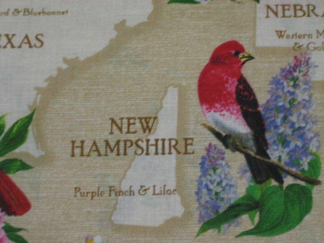 Image 1 of State birds Robin cardinal teacher panel beige Cotton Fabric to sew