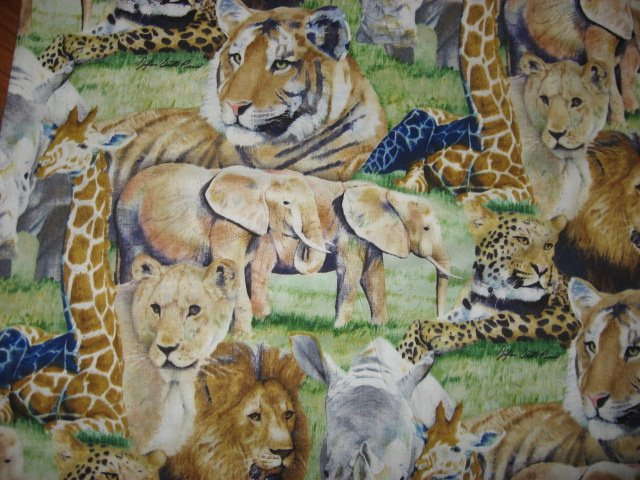 Tiger Zebra Lion Giraffe Jungle Elephant 100% cotton Fabric By the yard