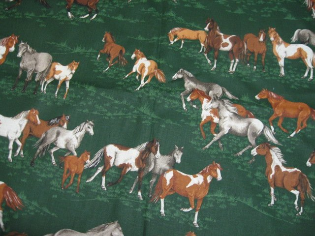 Horses running in beautiful green grass pasture VIP Cotton Fabric By the yard