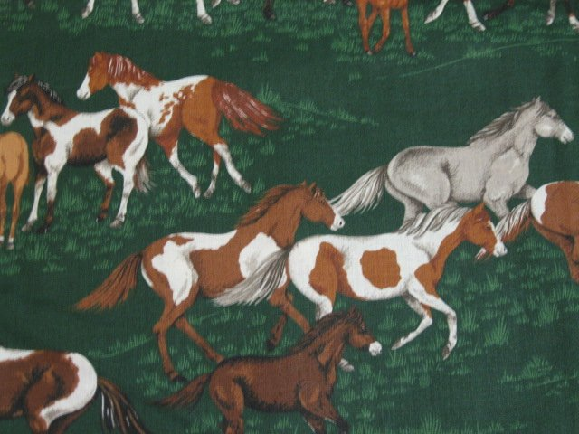 Image 1 of Horses running in beautiful green grass pasture VIP Cotton Fabric By the yard