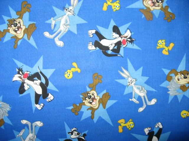 Image 0 of Tweety Sylvester Bugs Tazz Looney Tunes blue 100% Cotton Fabric By the yard