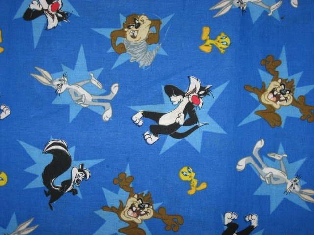Tweety sylvester bugs tazz looney tunes blue 100 cotton for Solar system fleece fabric