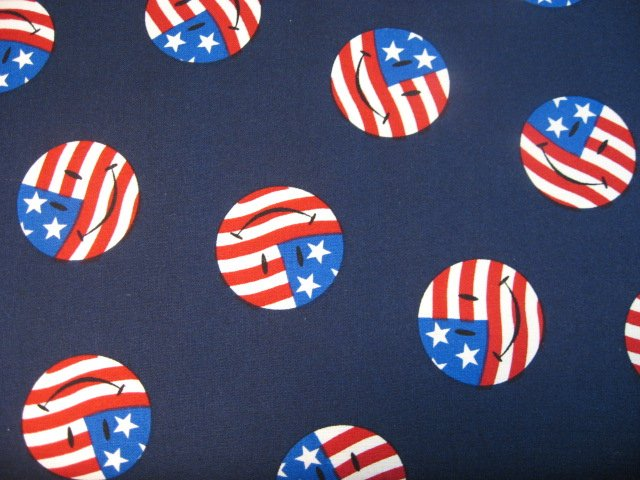 American flag with smile faces in circles on dark navy Fabric By the yard