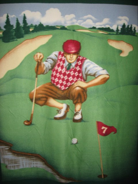 Golf golfer in argyle vest with golf ball Fleece Blanket Panel with fin edge