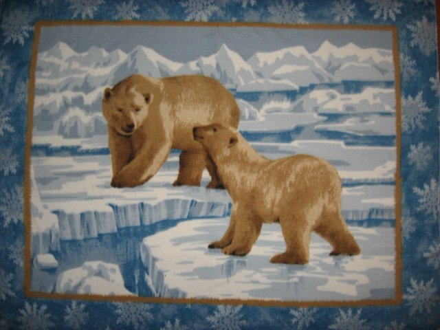 Mother and baby Polar bears on ice fleece blanket 48X62