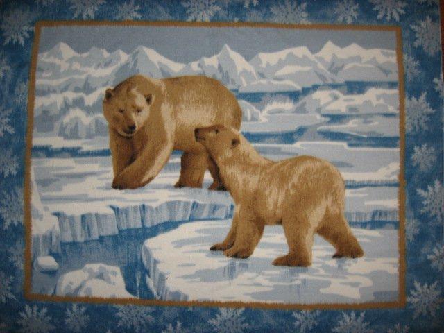 Mother and baby Polar bears on ice fleece blanket 48X62