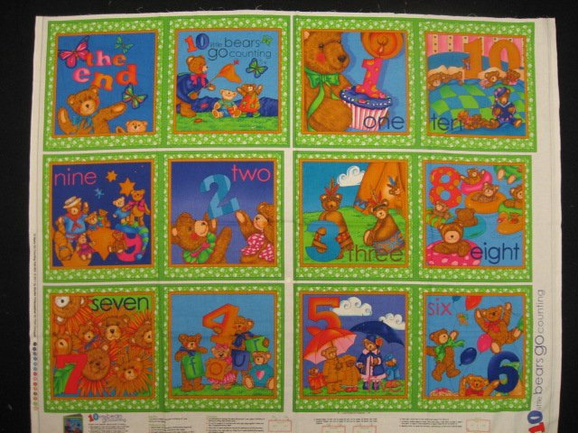 10 Little Bears Go Counting soft Book Fabric Panel to sew /
