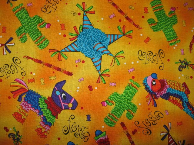Cinco De Maya Fabric Cotton quilting Pinatas Parrot Donkey