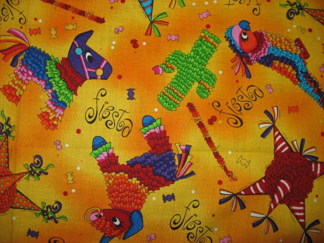 Cinco de maya fabric cotton quilting pinatas parrot donkey for Solar system fleece fabric