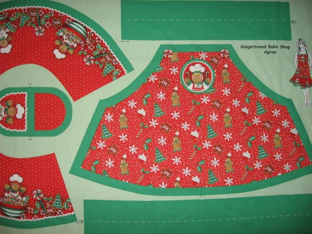 Image 2 of Christmas Peppermint candy Gingerbread Chef Aprons One Fabric Apron Panel to sew
