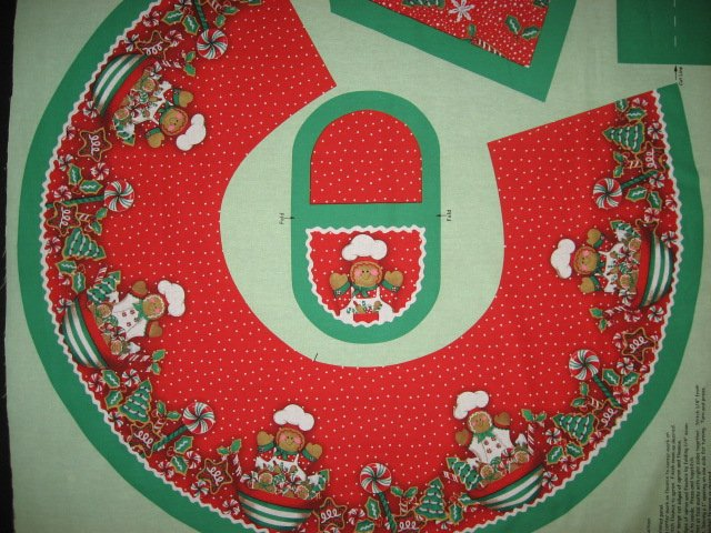 Christmas Peppermint candy Gingerbread Chef Aprons One Fabric Apron Panel to sew