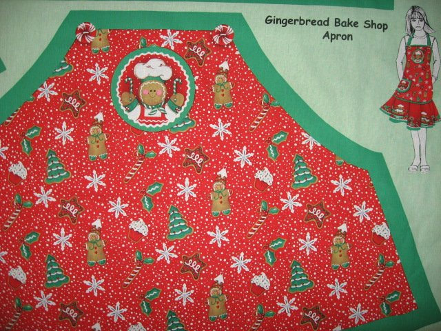 Image 1 of Christmas Peppermint candy Gingerbread Chef Aprons One Fabric Apron Panel to sew