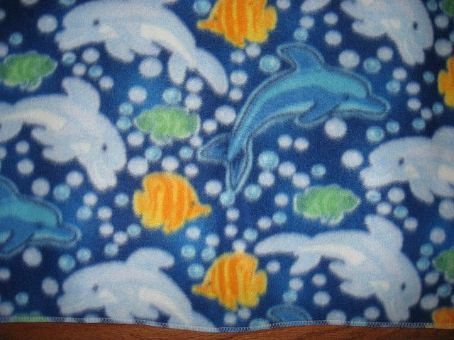 Dolphins bubbles and orange fish handmade small fleece baby blanket