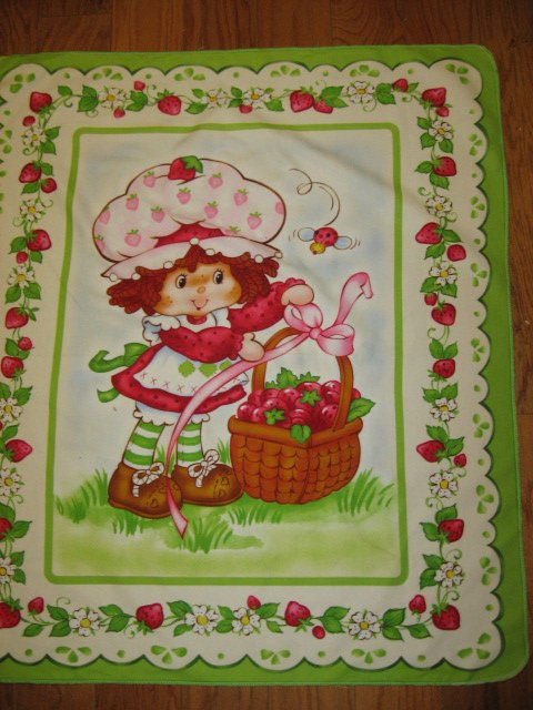 Strawberry Shortcakechild baby  Flannel blanket or Wall panel finished edge