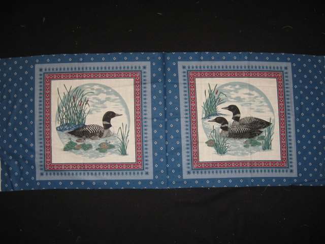 Loons on a lake with cattails set of 2 Pillow Panels of 100% cotton Fabric