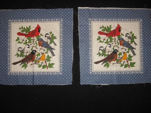 Robin Chickadee Bluebird Cardinal pictures Set of 2 same Pillow Panels Fabric