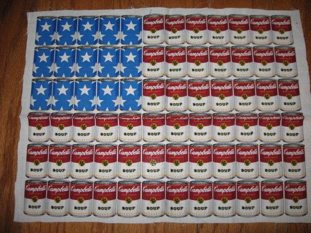 Andy Warhol Campbell's Soup can USA Flag Kitchen Pillow Panel Fabric 13X17