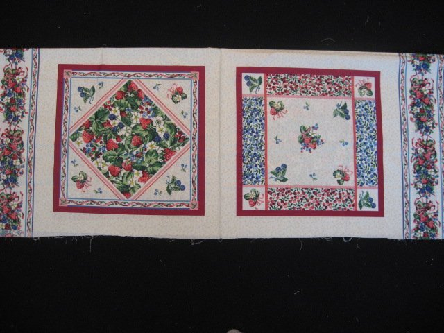 Image 0 of Strawberries and flowers Pillow Panels Fabric  set of 2 pictures