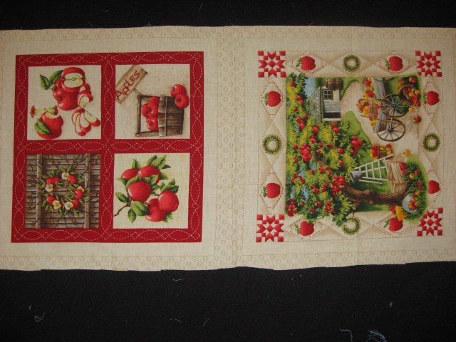 Apples country farm orchard barn wreath wagon Pillow Panels Fabric set rare
