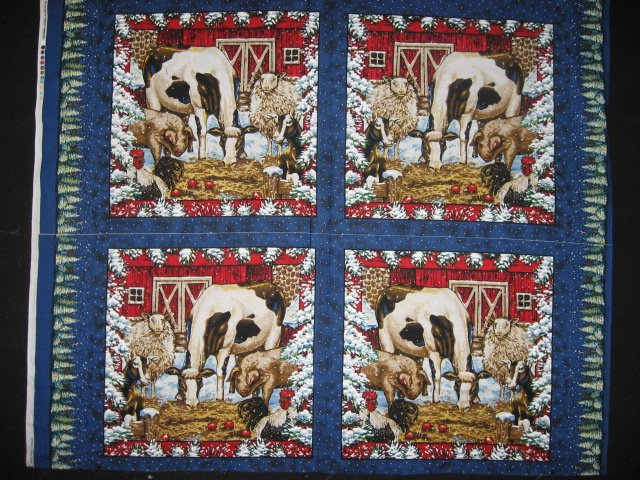 Image 0 of Winter snow Farm Barn animal Cow Horse Pig Sheep Rooster 4 Fabric Pillow Panels