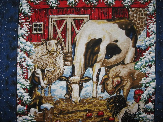 Image 1 of Winter snow Farm Barn animal Cow Horse Pig Sheep Rooster 4 Fabric Pillow Panels