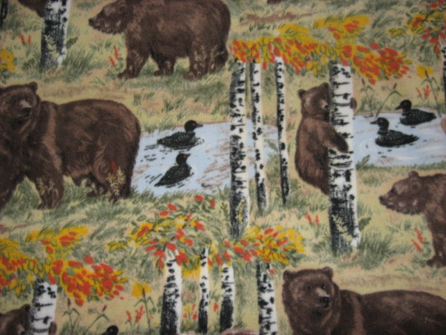 Bears loons fleece blanket woods Handmade Quality overall print  throw