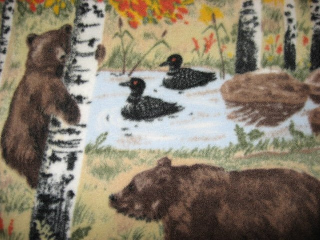 Image 2 of Bears loons fleece blanket woods Handmade Quality overall print  throw