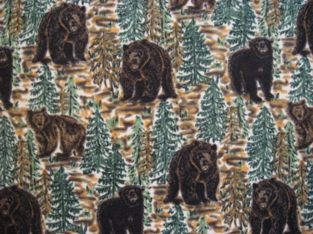 Bears in Pine Forest soft fleece bed blanket handmade guaranteed 60X70 long