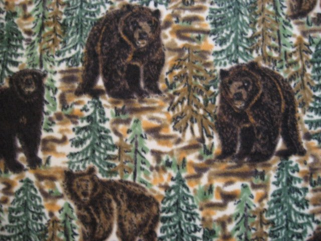 Image 1 of Bears in Pine Forest soft fleece bed blanket handmade guaranteed 60