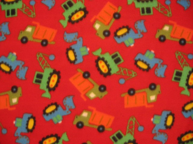 Construction Vehicles Red Twin Size Fleece bed Blanket 60X72