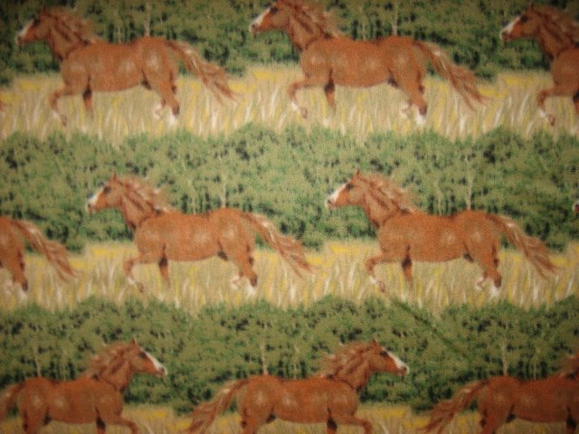 Horses in grass running in rows fleece bed blanket 60X72 long handmade